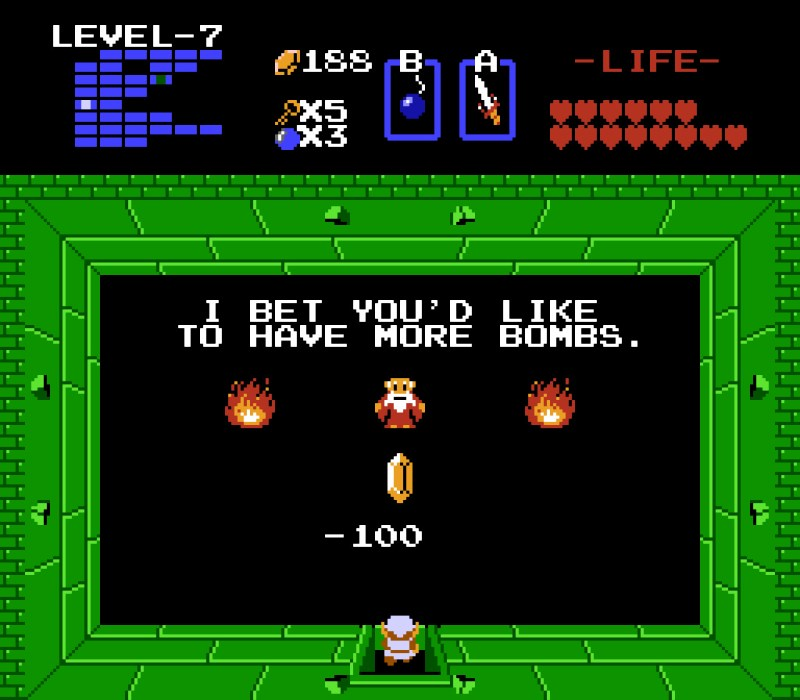 """The Legend of Zelda 1 NES """"I BET YOU'D LIKE TO HAVE MORE BOMBS."""""""