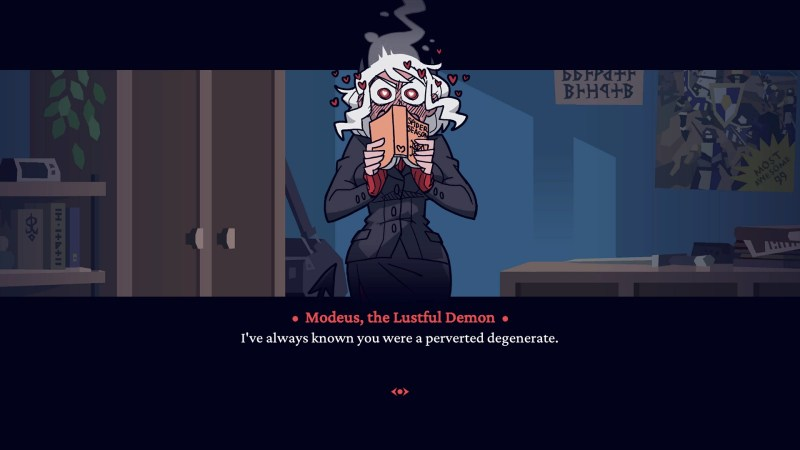 "Helltaker (Steam) game Modeus ""I've always known you were a perverted degenerate."""
