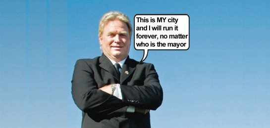 mayor stew young Langord is my city, cartoon by Hal Hannon