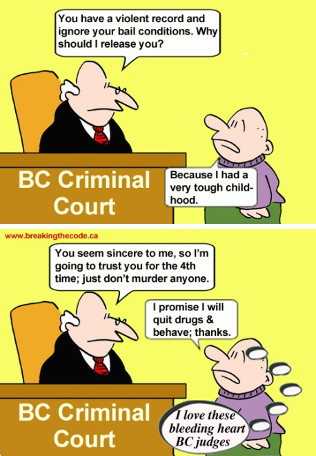 BC's courts put citizens at risk, cartoon by Hal Hannon
