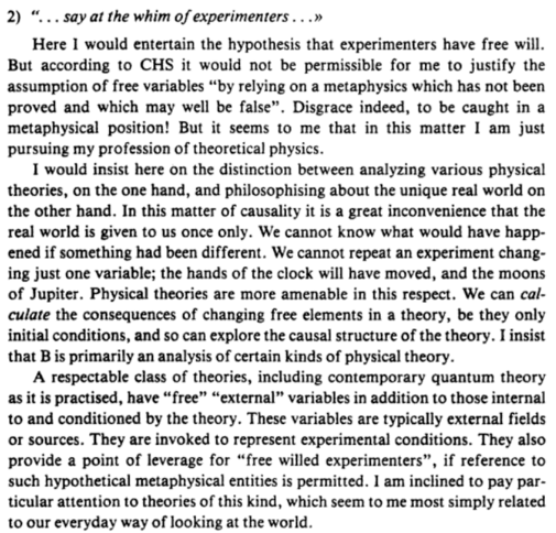 Bell's Theorem - Bell on Free Will
