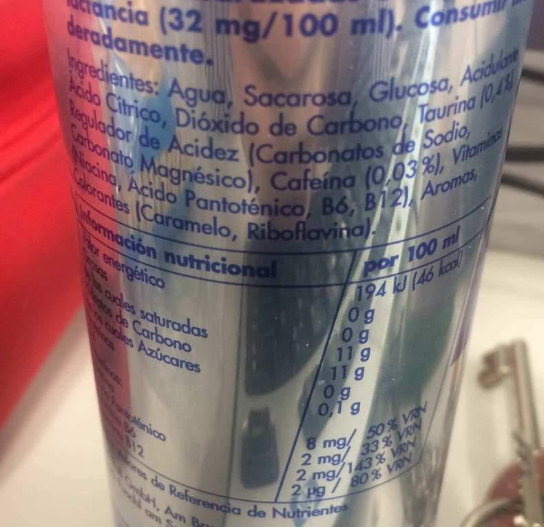 ingredientes redbull