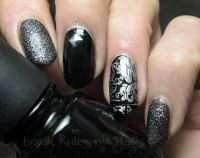 Black and silver nail art   Break rules, not nails