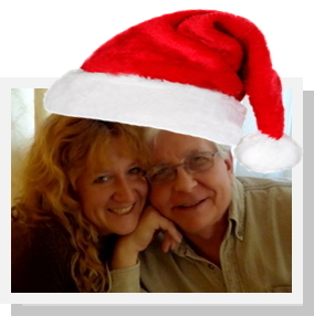 Pastor Tom and Lisa Goss with Christmas hat