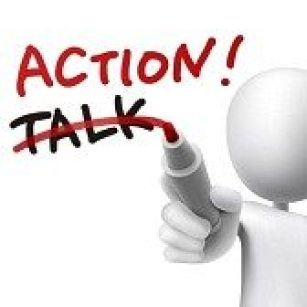 30595594-action-word-written-with-crossing-out-the-word-talk-by-a-man-over-white-background