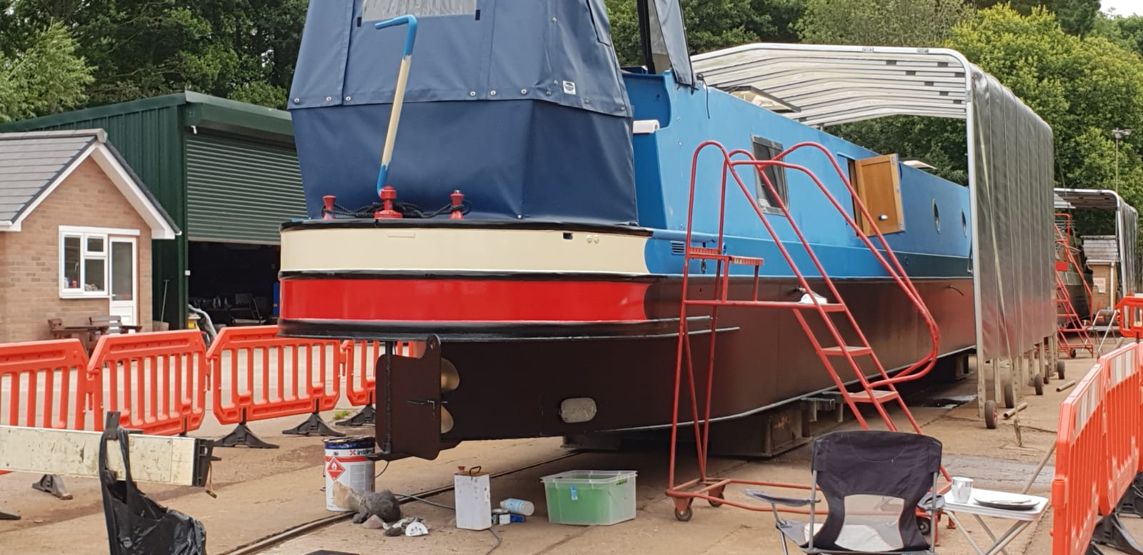 Narrowboat being primed