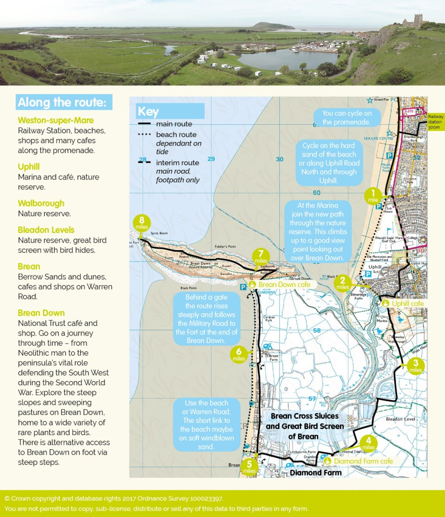 Brean Down Way cycle map