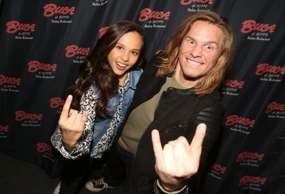 """NEW YORK, NY - MARCH 14: Breanna Yde and Tony Cavalero promote thier New Nickelodeon TV Series (based on the film) """"School Of Rock"""" at Buca di Beppo Times Square on March 14, 2016 in New York City. (Photo by Bruce Glikas/FilmMagic) *** Local Caption *** Breanna Yde; Tony Cavalero"""