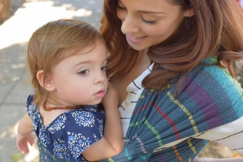 Lil Miss and I in our Tula Imagine Midday woven wrap.