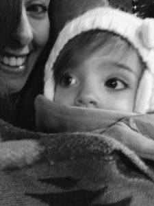 Little Miss and I all bundled up in the cold weather while babywearing.