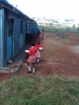 School children with new uniforms