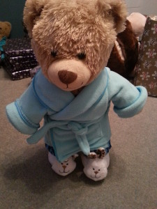 My Captain America bear, in dressing gown and bunny slippers