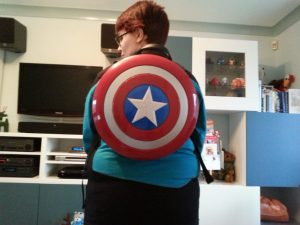 Wearing my Cap shield backpack