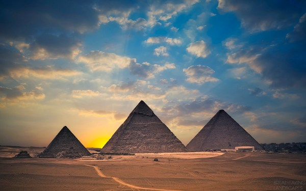 Amazing Pyramids of Giza at sunset Egypt Breathtaking