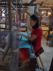 Silk fabric being woven
