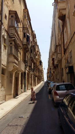 Valetta, steep streets with terraced housing.
