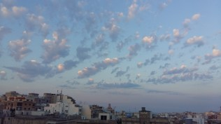 The early evening sky from our room