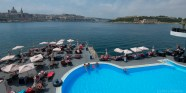 A hotel pool on the Sliema water front