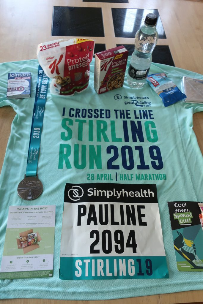 T-shirt, medal and goody bag contents