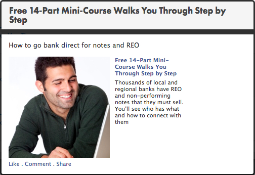 facebook wall retargeting ad with a man looking towards the words
