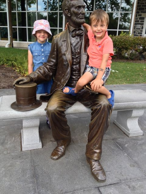 Madeleine and Vince sitting with Abe.