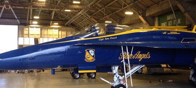 In the Blue Angels hanger