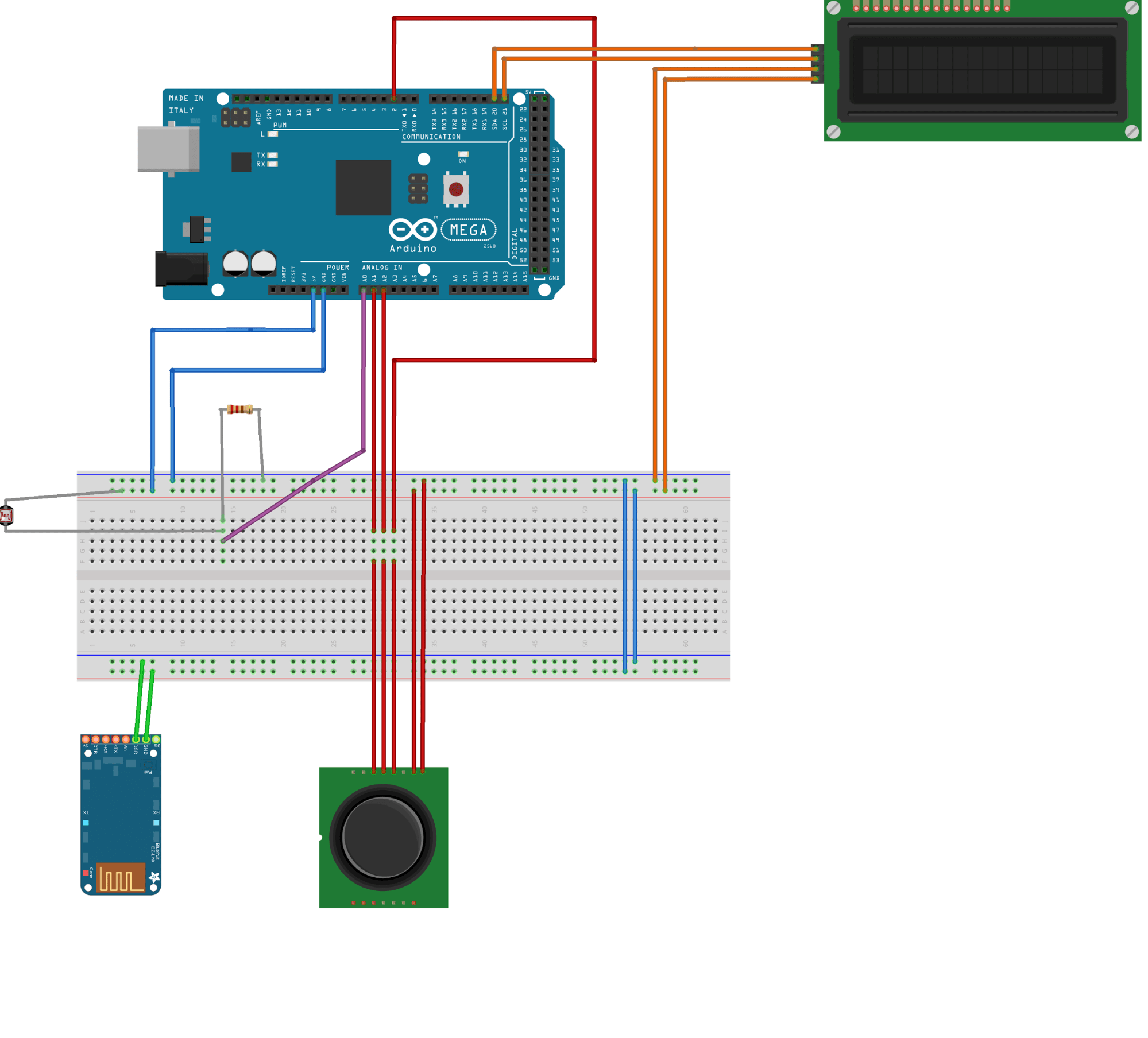 hight resolution of  and the lcd display which displays the position of the joystick and the status of the light sensor the wiring diagram for this station can be found on