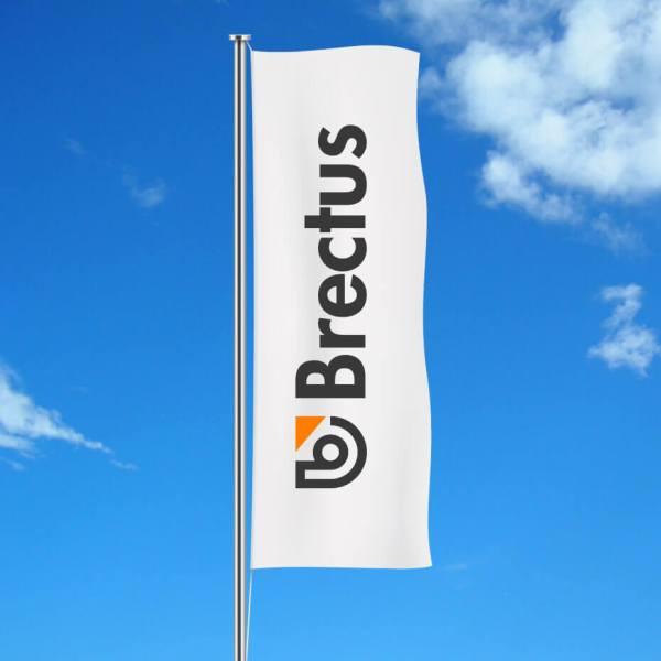Flag med logo stående