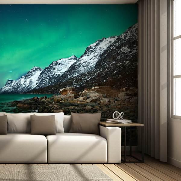 Fototapet til Stue - Motiv Bjergudsigt om natten