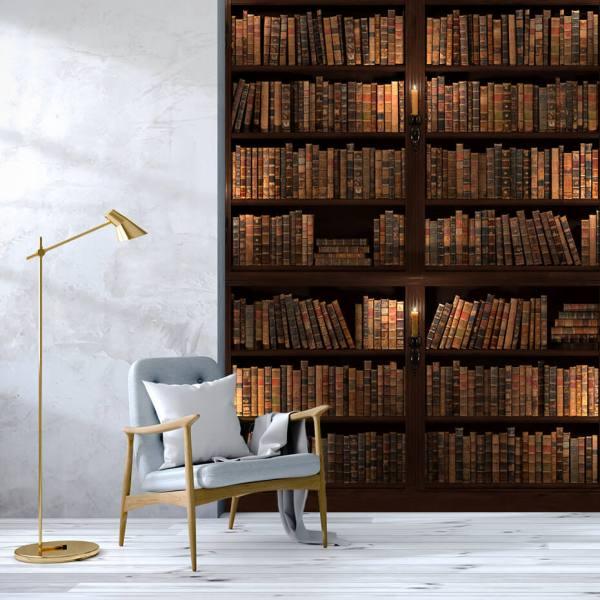 Fototapet til Stue - Motiv stor bogreol