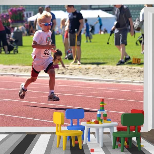 Fototapet til børneværelse - Motiv Børn kører et løb