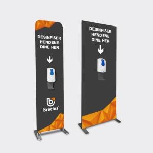 Dispenser med bannerstand for reklame