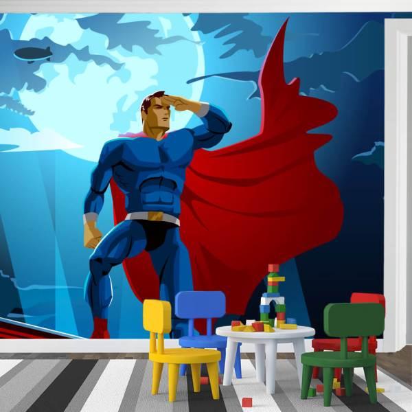 Fototapet for Barnerom - Motiv Superhelt foran Full Måne