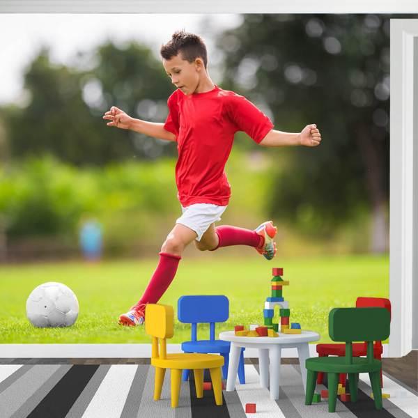 Fototapet til Barnerom - Motiv Barn Fotballspiller