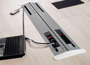 diverse mogelijkheden met kabel management in de vergadertafels