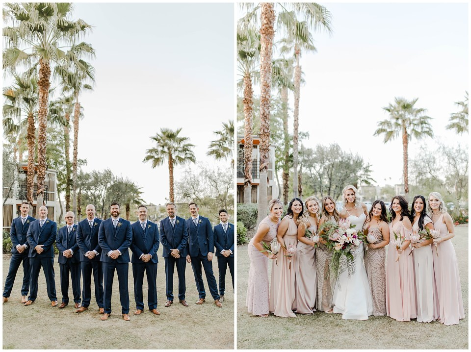 beautiful bridesmaids and handsome groomsmen. Palm Springs Wedding Photography