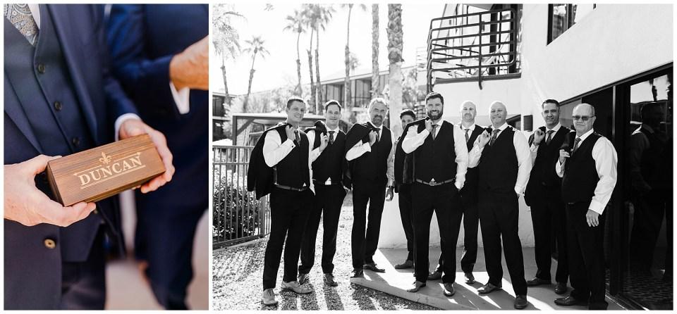 groom and groomsmen in palm springs, california
