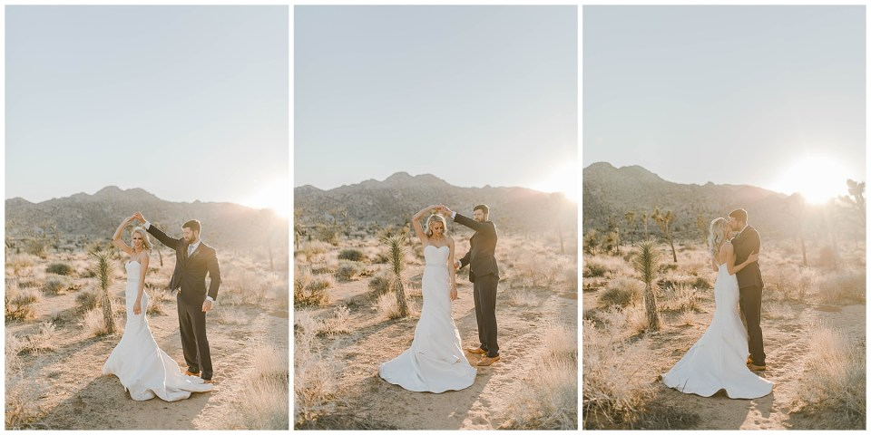 bride and groom dancing in the desert in joshua tree national park