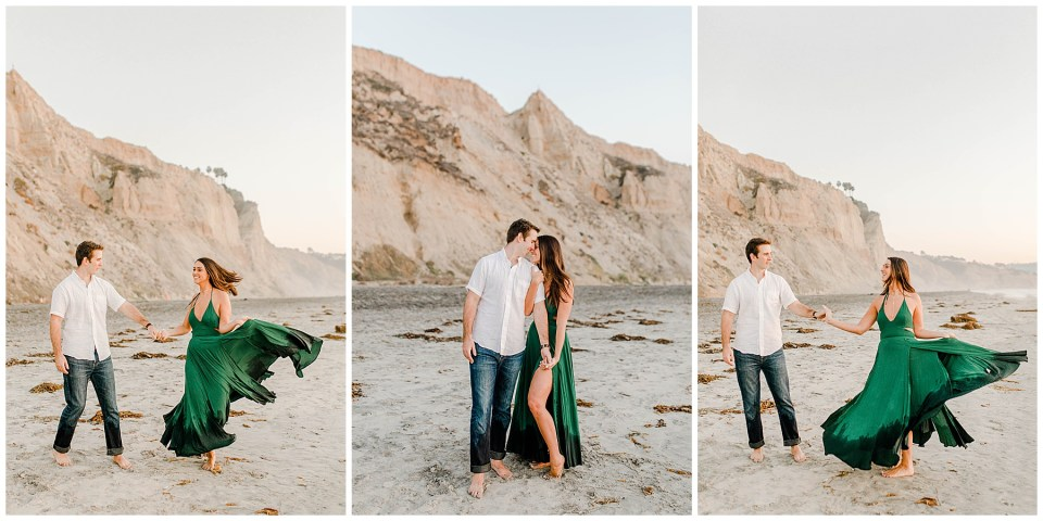 engagement photography session, girl wearing a green dress