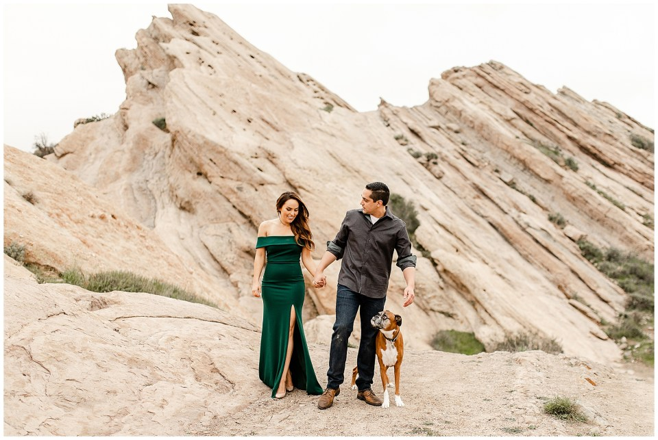 engagement photos with a boxer