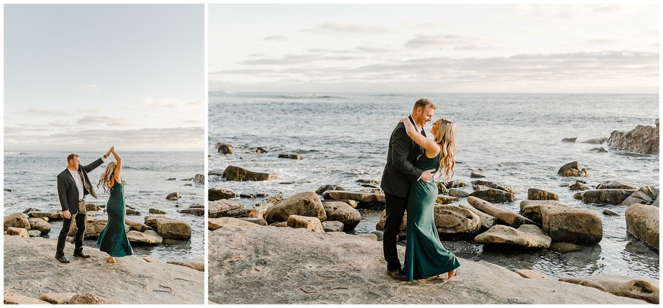 man and woman dancing during their Sunset Cliffs Engagement Session