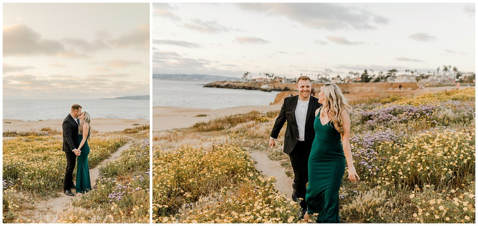 man and woman kissing during their Sunset Cliffs Engagement Session