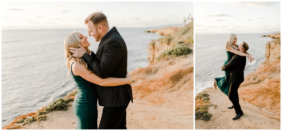 man and woman hugging during their Sunset Cliffs Engagement Session