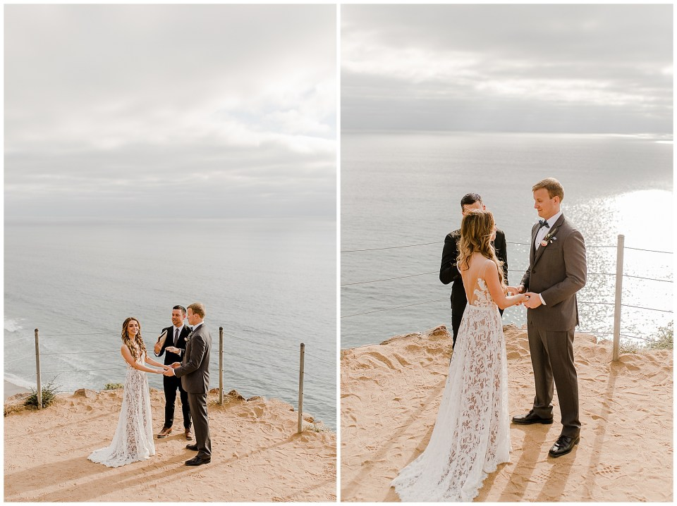 "moments before chelsea and michael say ""i do"" to each other at torrey pines natural reserve"