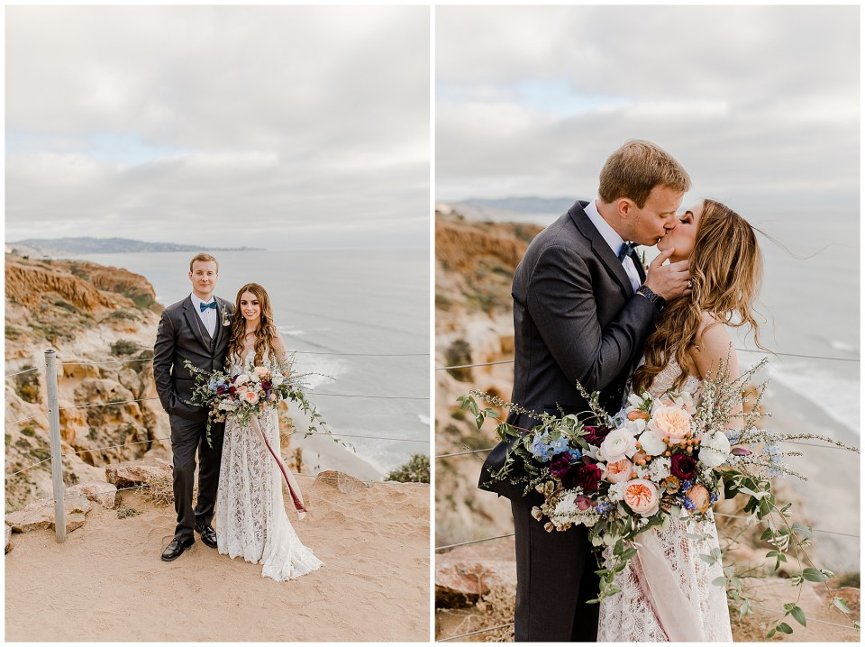 bride and groom take wedding pictures at torrey pines