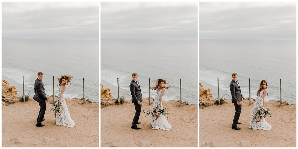 bride and groom dancing in front of the camera on their wedding day at torrey pines natural reserve