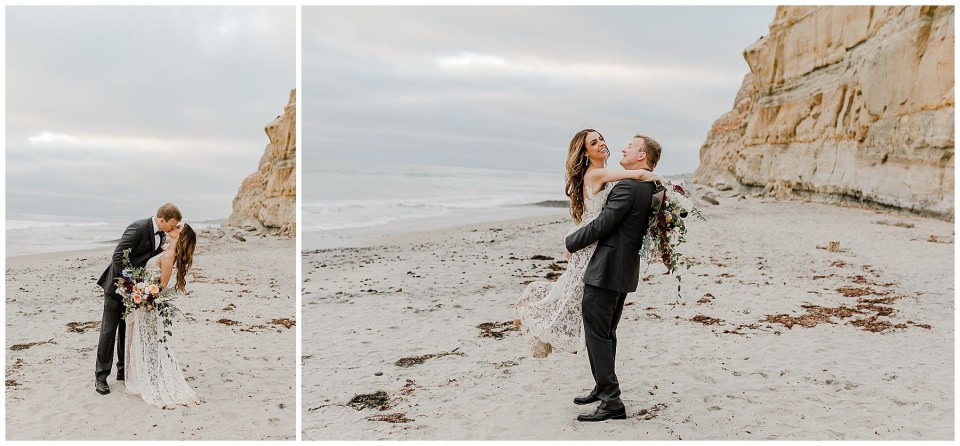 bride and groom elope on torrey pines state beach