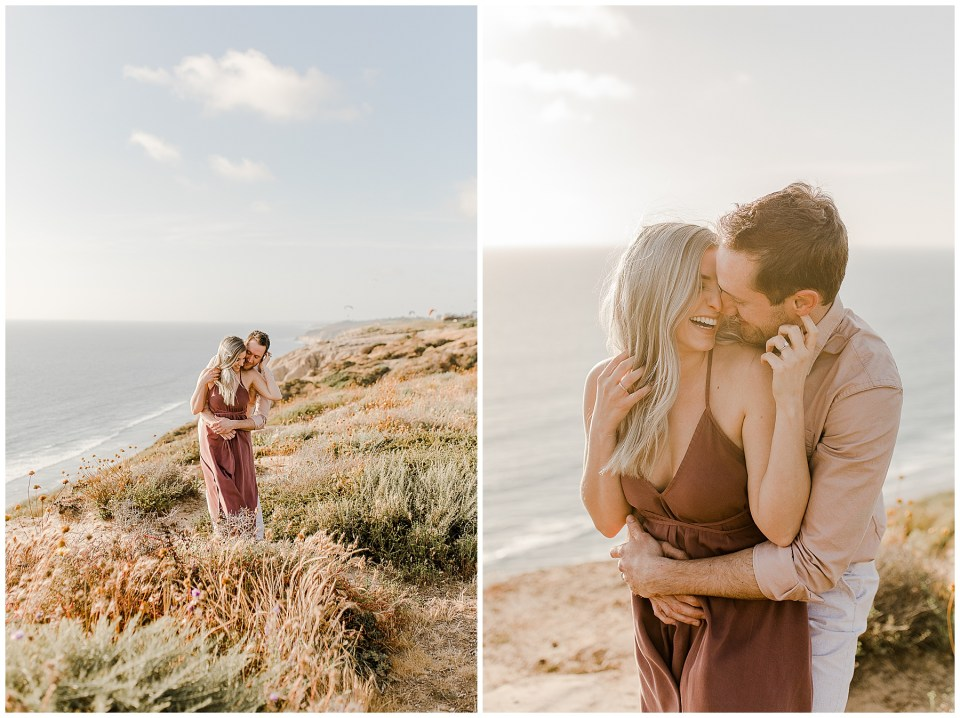 2 photos of a man and woman taking romantic engagement photos in torrey pines