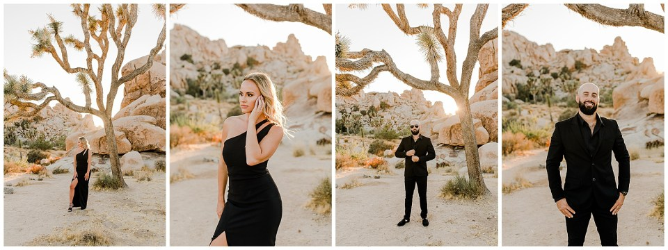 4 pictures of a bride and groom taking engagement photos in joshua tree national park