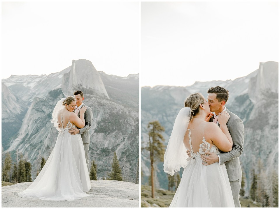 bride and groom in yosemite